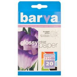 Бумага BARVA глянцевая (IP-C230-014), 10x15, 20 листов Код товара 1291