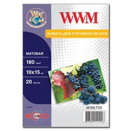 Бумага WWM матовая 180 г/м2 (M180.F20), 10x15, 20 листов Код товара 2118