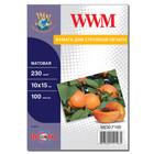 Бумага WWM матовая 230 г/м2 (M230.F100), 10x15, 100 листов Код товара 2119